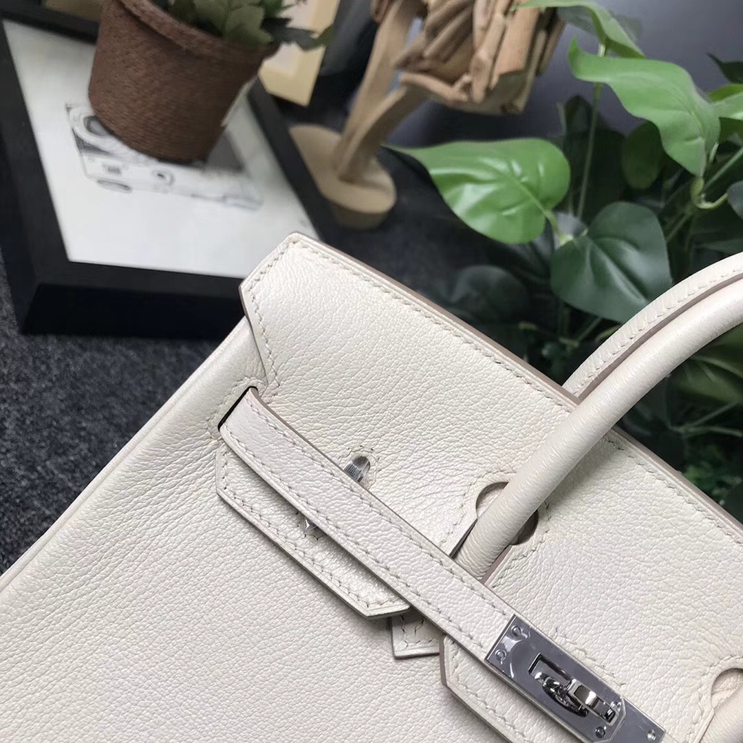 Hermès(爱马仕)奶昔白 原厂御用顶级山羊皮 Birkin 25 银扣 现货