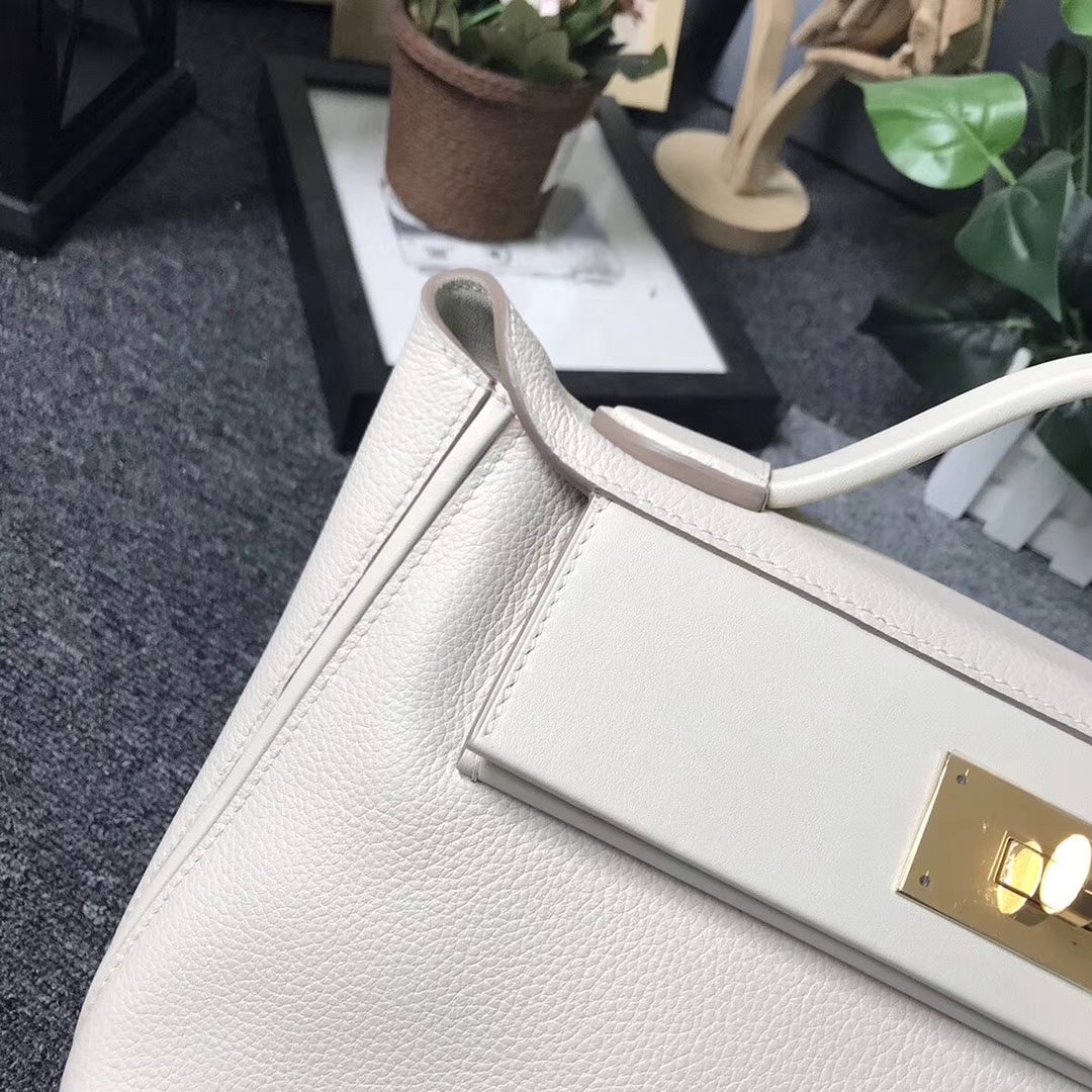 Hermès(爱马仕)奶昔白 原厂御用顶级小牛皮拼Swift 皮 2424 金扣