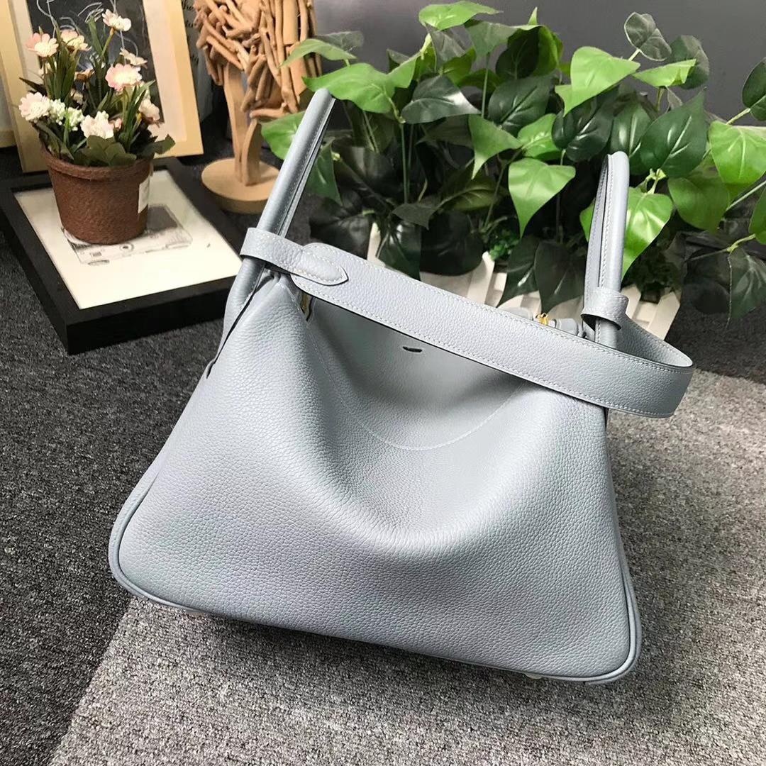 Hermès(爱马仕)J7亚麻蓝 原厂御用顶级小牛皮 Lindy 30 金扣