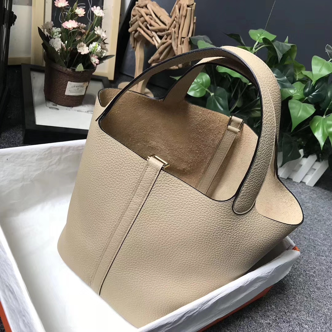 Hermès(爱马仕)S2 风衣灰 原厂御用顶级TC 皮 Picotin  Lock 22cm 金扣 现货