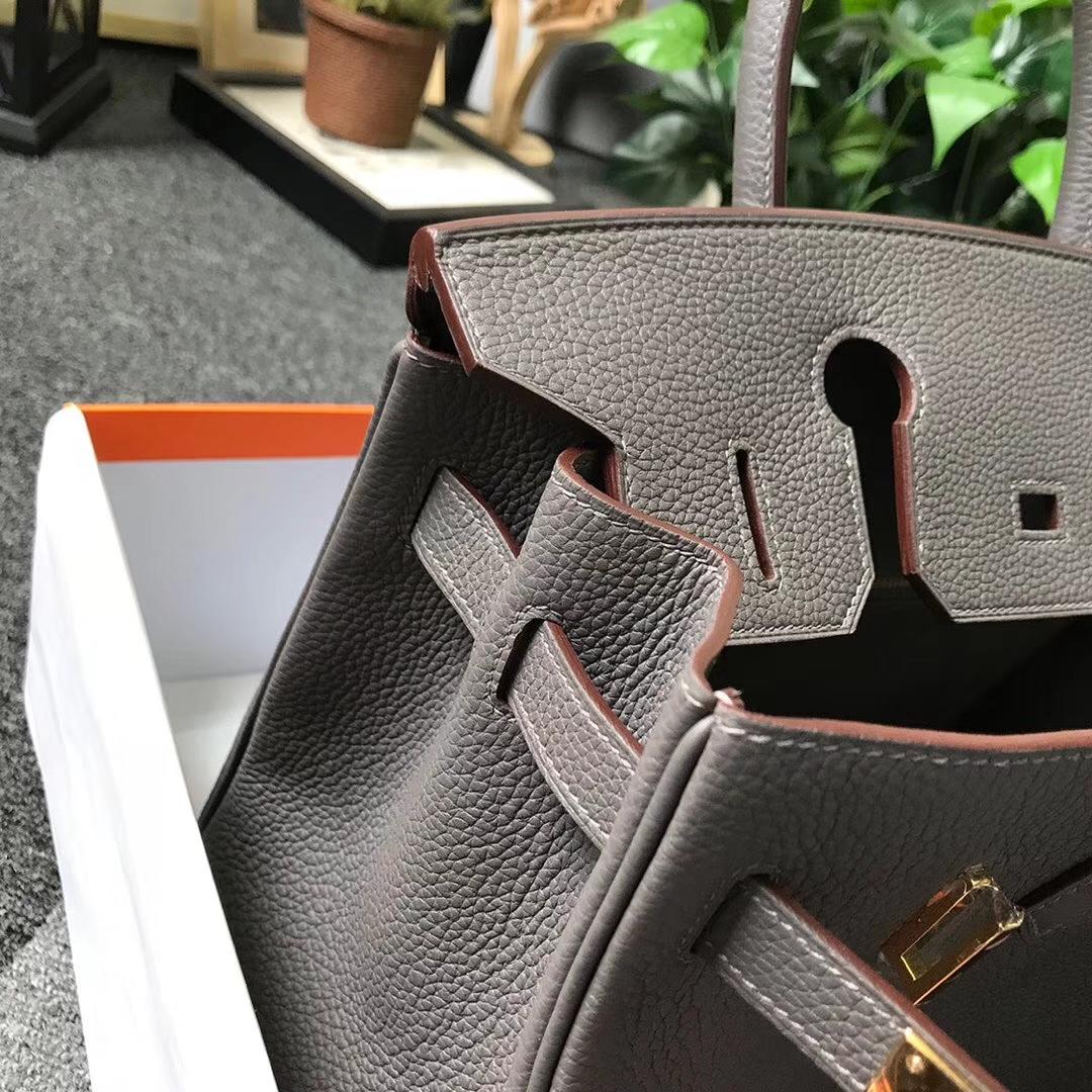 Hermès(爱马仕)8F锡器灰 原厂御用顶级小牛皮 Birkin 30 金扣
