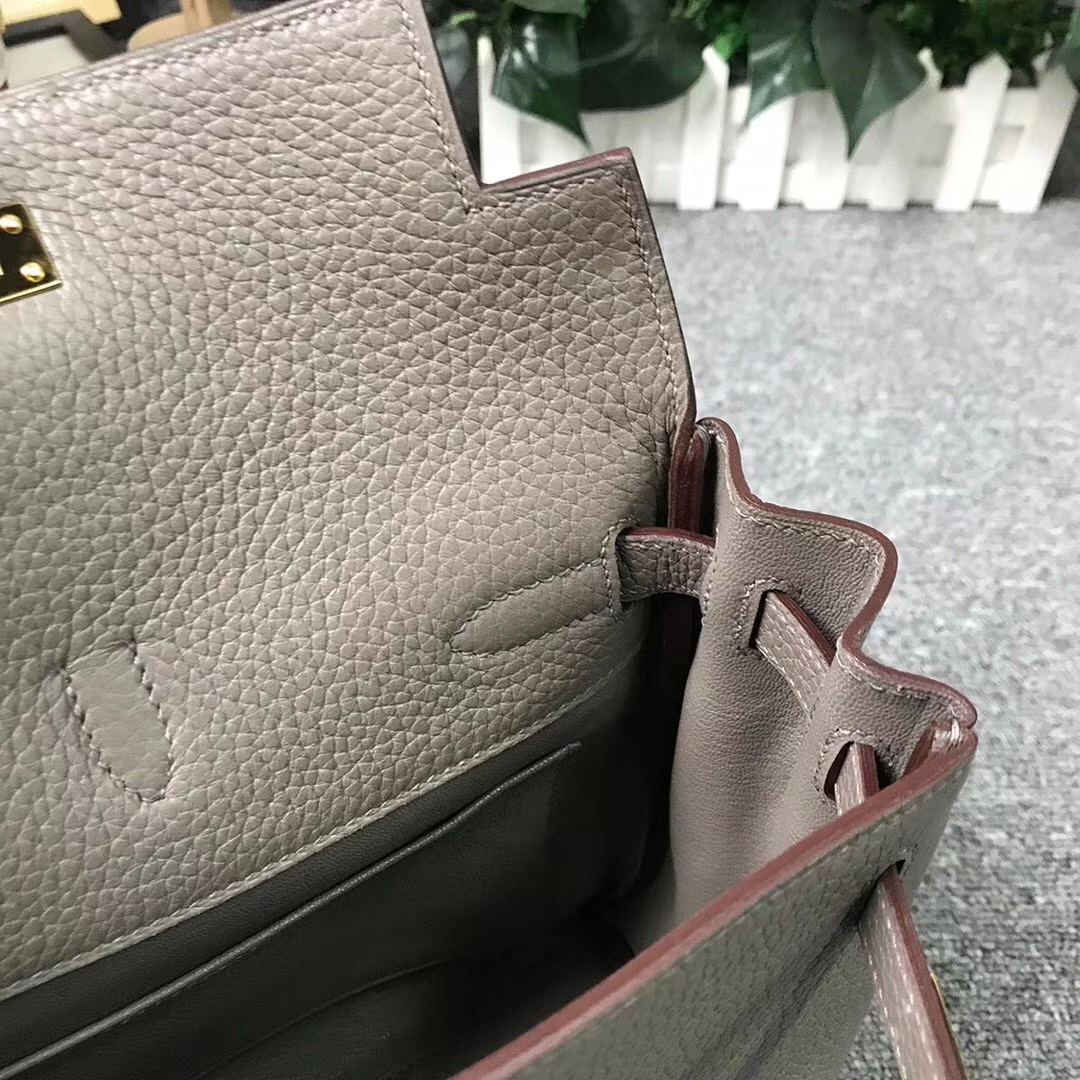 Hermès(爱马仕)M8 沥青灰 原厂御用顶级TC 皮 Kelly ado 金扣 现货