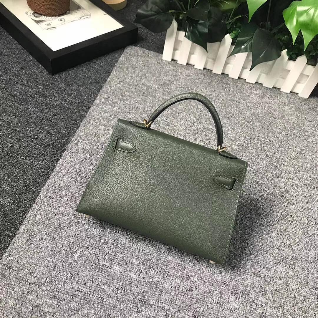 Hermès(爱马仕)2Q英国绿 原厂御用顶级山羊皮 Mini Kelly 二代 金扣