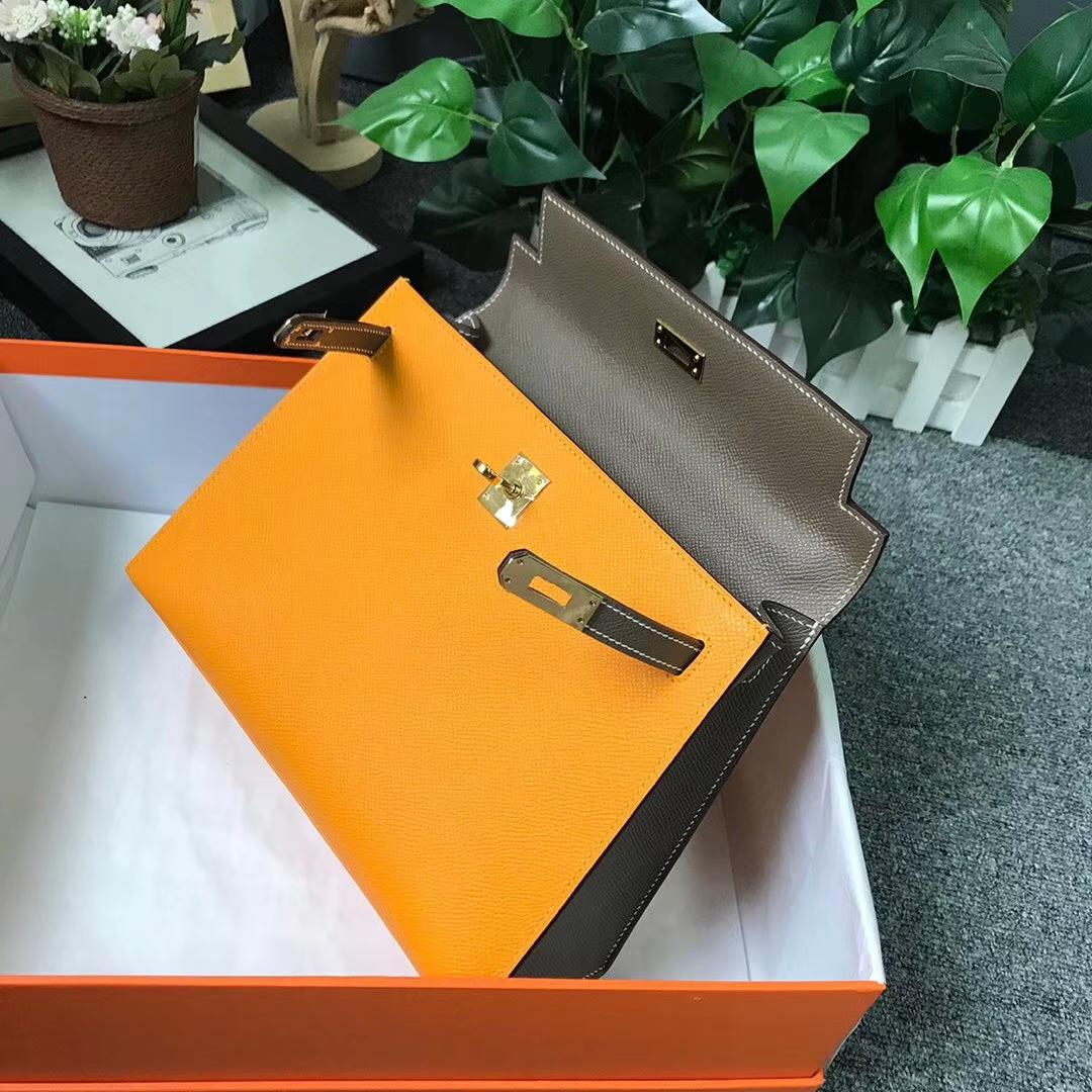 Hermès(爱马仕)9V太阳金黄拼大象灰 原厂御用顶级Epsom 皮 Kelly 25 外缝 金扣