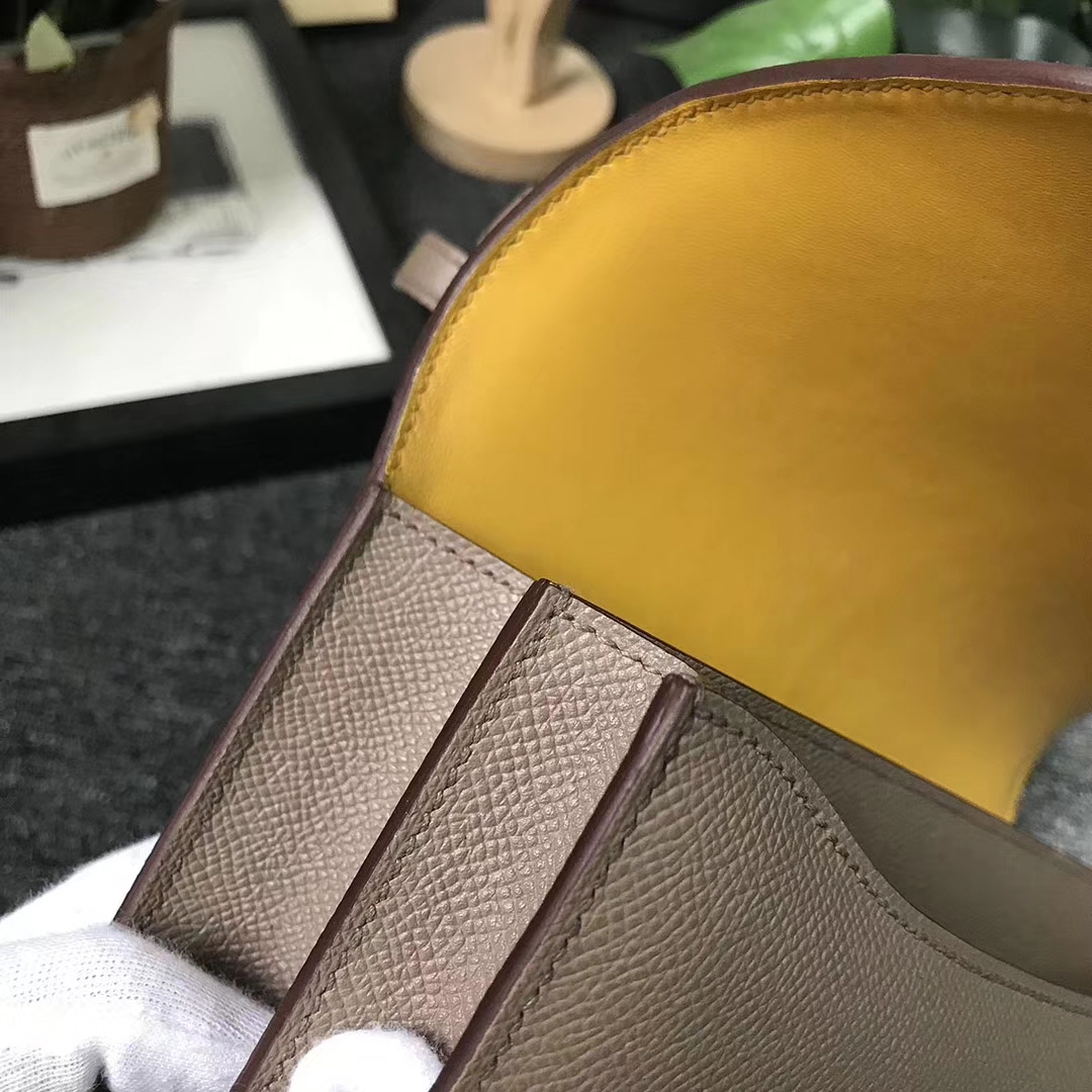 Hermès(爱马仕)Constance空姐包 CK18大象灰内拼9D琥珀黄 原厂御用顶级Epsom 皮 玫瑰金扣 26cm