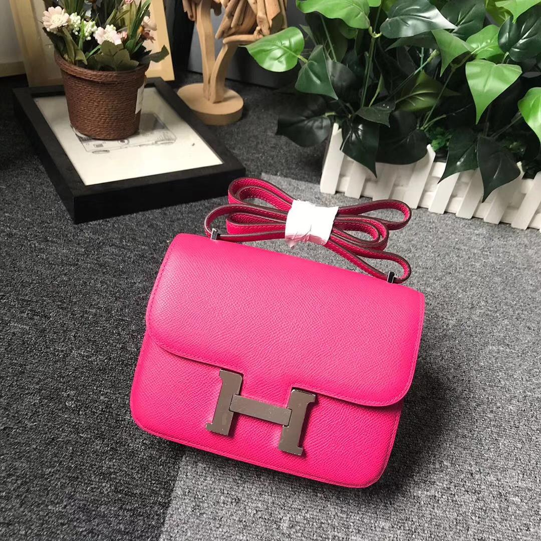 Hermès(爱马仕)E5糖果粉 本色线 原厂御用顶级Epsom 皮 Constance 19 银扣