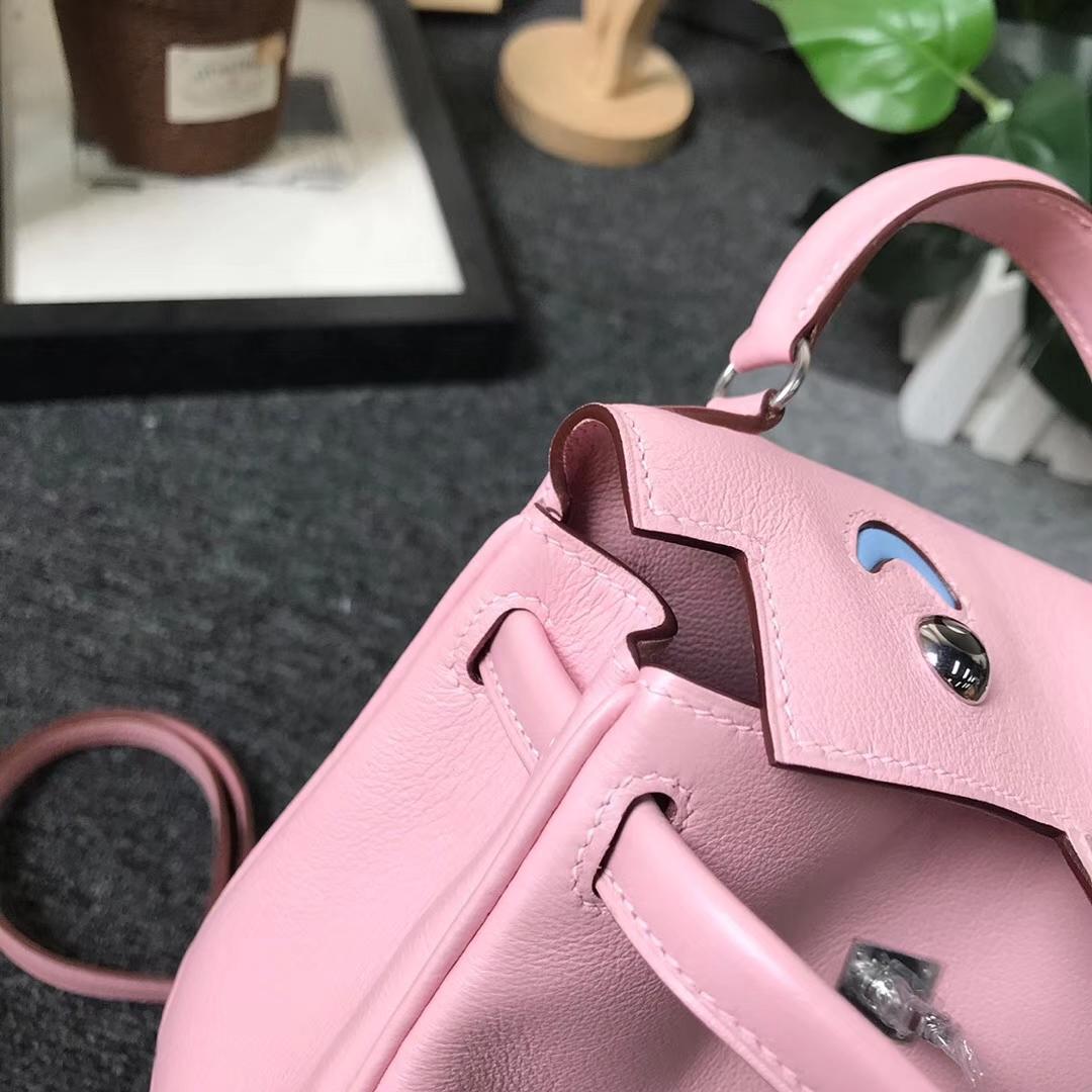 Hermès(爱马仕)3Q新樱花粉拼糖果蓝 原厂御用顶级Swift 皮 Kelly doll  银扣