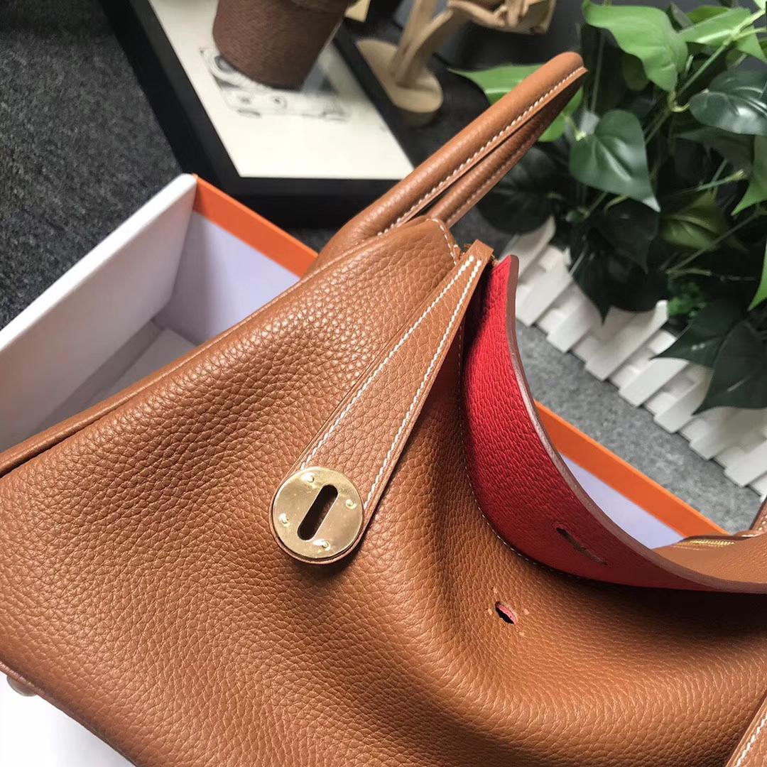 Hermès(爱马仕)金棕色拼番茄红 原厂御用顶级TC 皮 Lindy 30 金扣