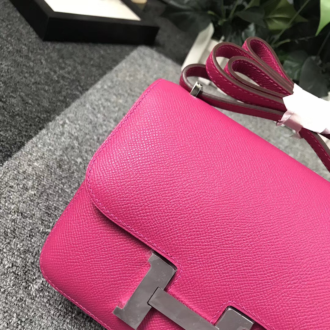 Hermès(爱马仕)L3 玫瑰紫色 原厂御用顶级Epsom 皮 Constance 19 银扣