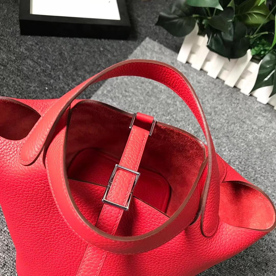 Hermès(爱马仕)Q5 中国红 原厂御用顶级TC 皮 Picotin  Lock 18cm 银扣 现货