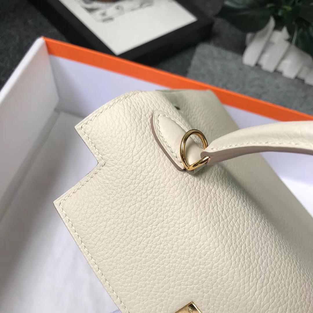 Hermès(爱马仕)奶昔白 原厂御用顶级小牛皮 Kelly 25 金扣 现货