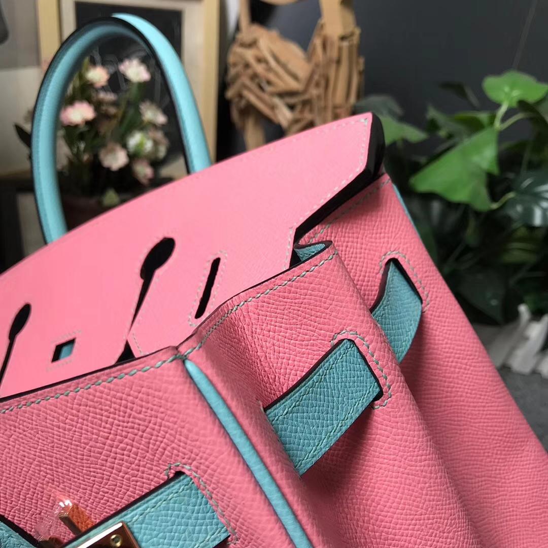 Hermès(爱马仕)1Q奶昔粉拼3P马卡龙蓝 原厂御用顶级Epsom 皮 Birkin 30 金扣