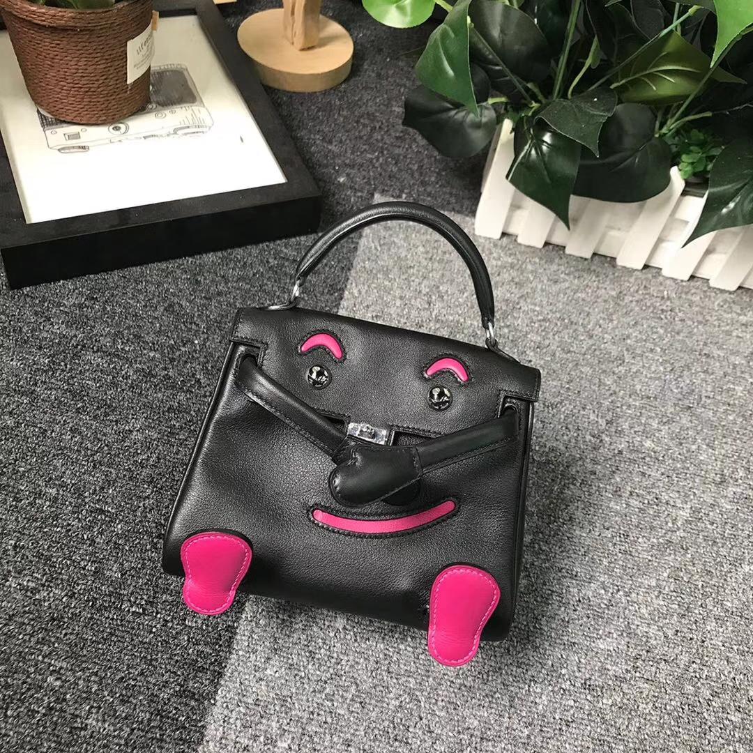 Hermès(爱马仕)黑色拼玫瑰紫色Swift 皮 Kelly doll 银扣
