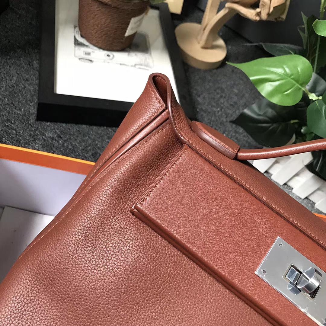 Hermès(爱马仕)6C古铜色 原厂御用顶级小牛皮拼Swift 皮 2424 银扣