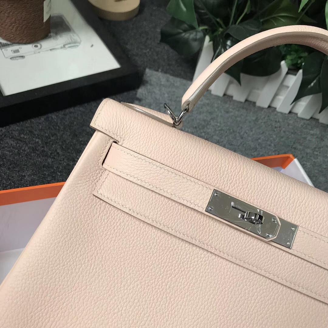 Hermès(爱马仕)蔷薇粉 原厂御用顶级小牛皮 Kelly 28 银扣