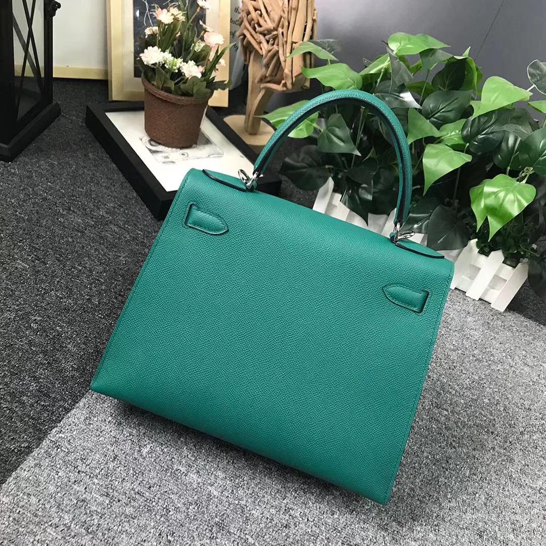Hermès(爱马仕)Z6 孔雀绿 原厂御用顶级Epsom皮 Kelly 28 外缝 银扣
