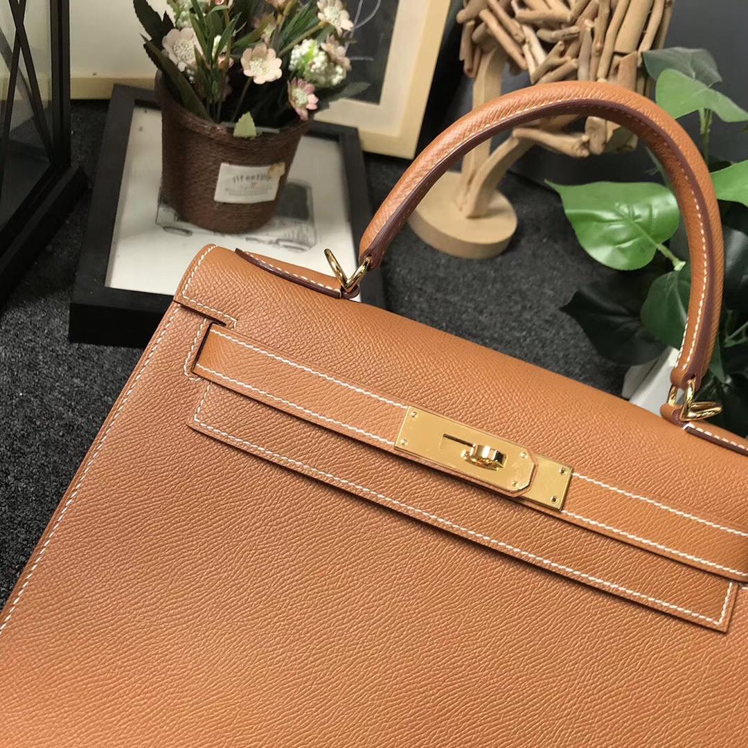 Hermès(爱马仕)C37 金棕色 原厂御用顶级Epsom 皮 Kelly 28 外缝 金扣