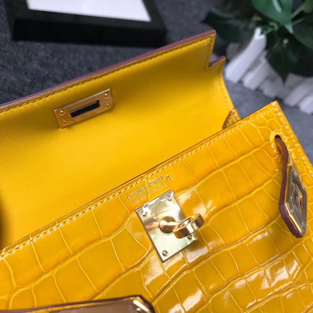 Hermès(爱马仕)9D琥珀黄 原厂御用顶级亮面鳄鱼皮 Mini Kelly 二代 金扣