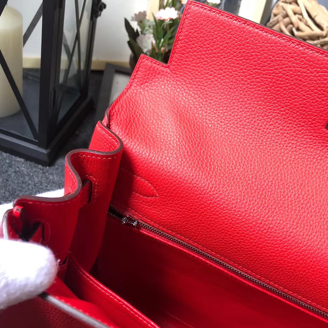 Hermès(爱马仕)Q5 中国红 糖果红 原厂御用顶级小牛皮 Kelly 32 银扣