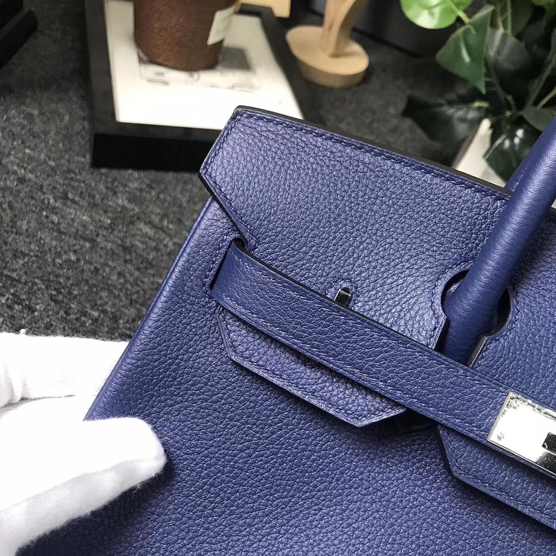 Hermès(爱马仕)7K 宝石蓝 原厂御用顶级小牛皮 Birkin 30 银扣