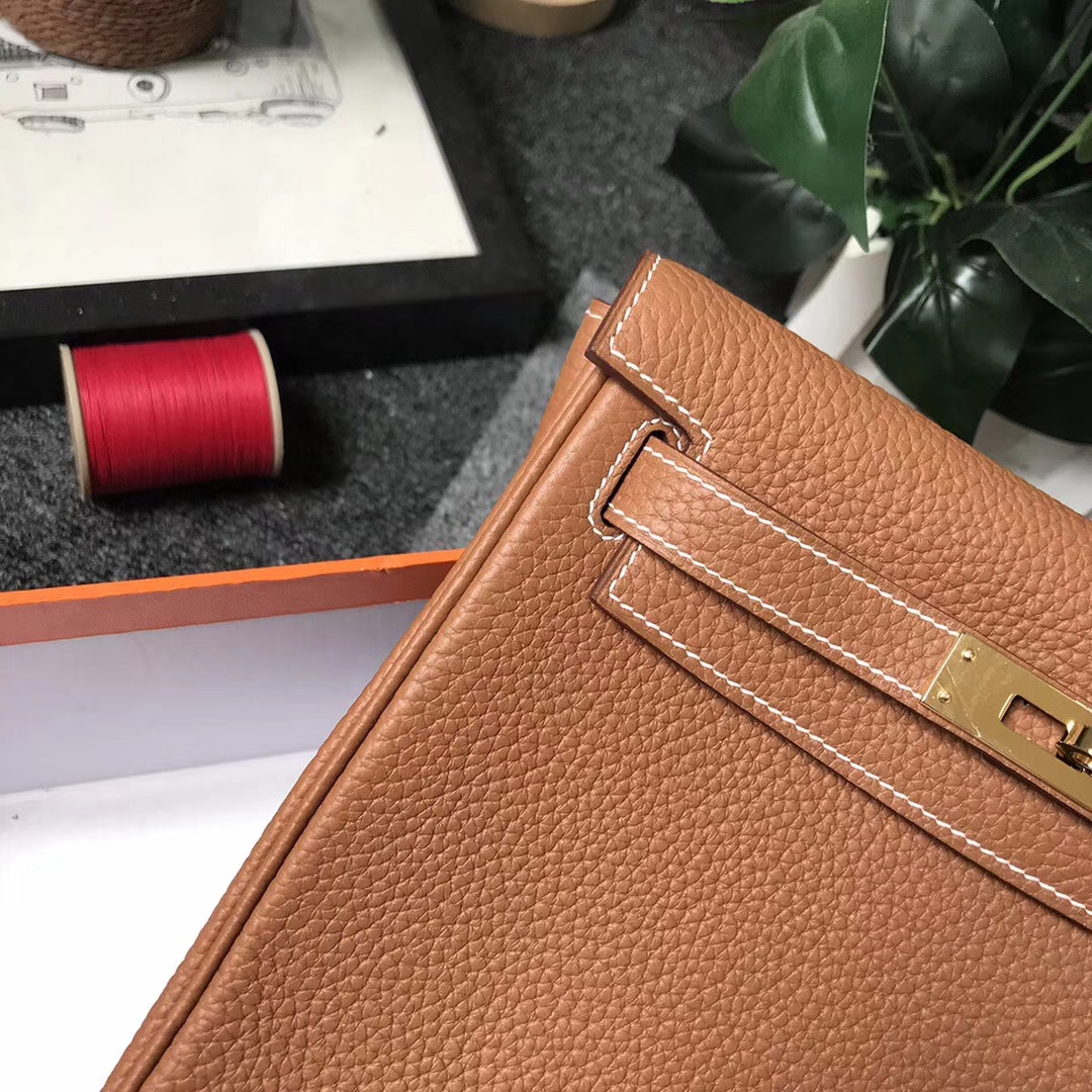 Hermès(爱马仕)C37 金棕色 原厂御用顶级TC 皮 Kelly ado 金扣 现货