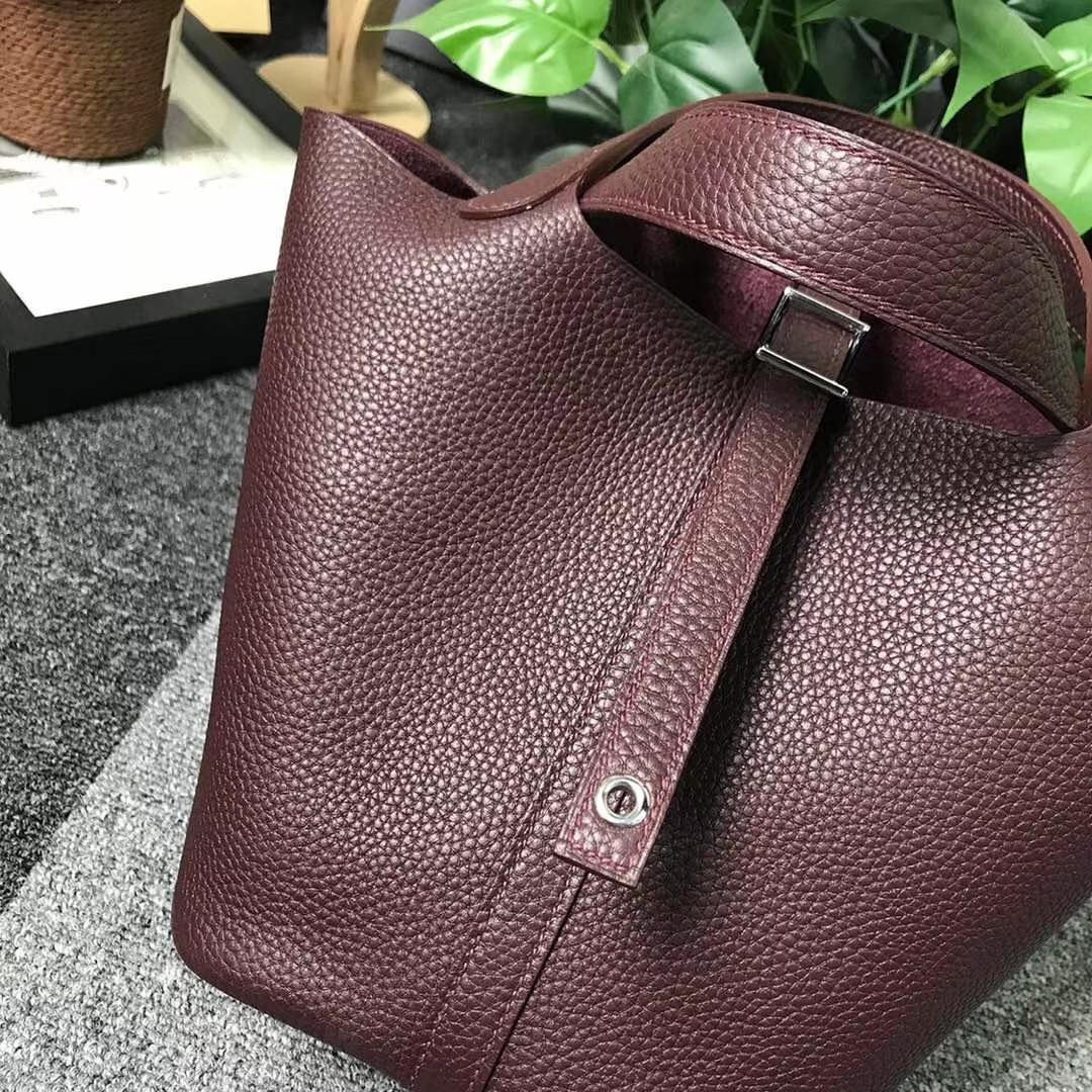 Hermès(爱马仕)波尔多酒红 原厂御用顶级TC 皮 Picotin  Lock 18cm 银扣