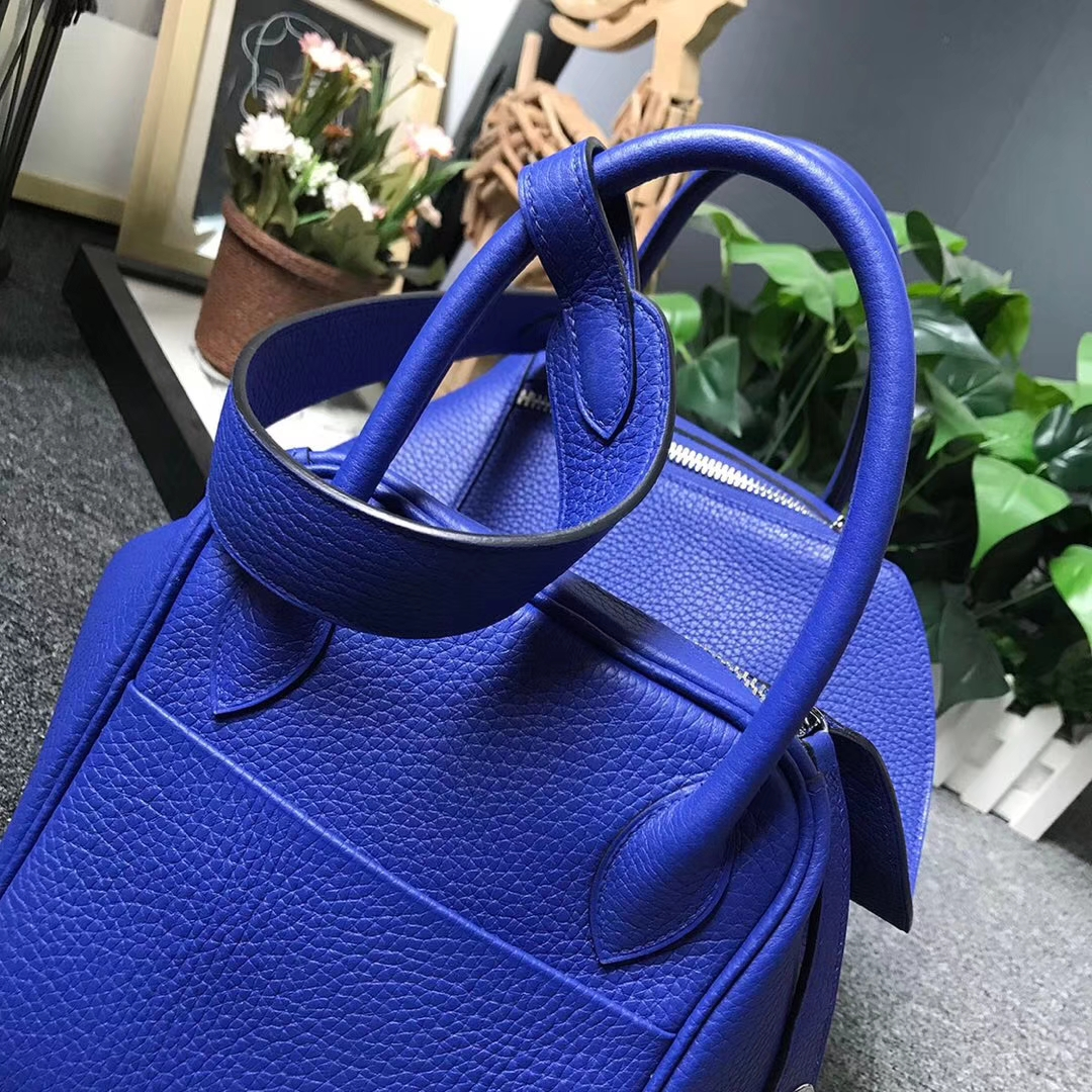 Hermès(爱马仕)7T电光蓝 原厂御用顶级TC 皮 Lindy 30 银扣 现货