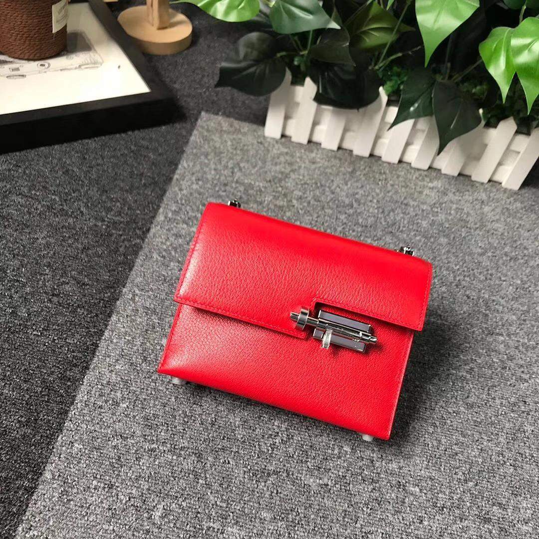 Hermès(爱马仕)番茄红 原厂御用顶级山羊皮 Verrou 插销包 现货