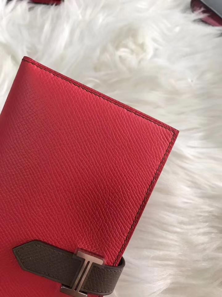 Hermès(爱马仕)bearn长款 原装等级进口epsom皮 斋浦尔粉拼大象灰 现货