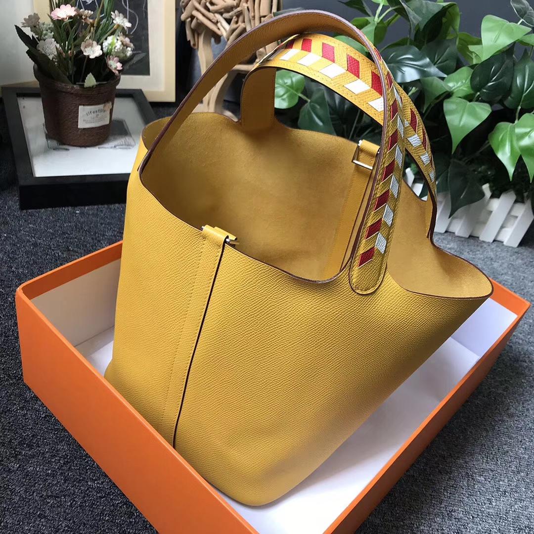 Hermès(爱马仕)9D琥珀黄 编织手腕 原厂御用顶级Epsom 皮 Picotin  Lock 22cm 银扣