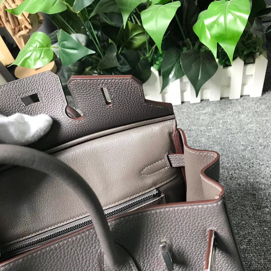 Hermès(爱马仕)8F锡器灰 原厂御用顶级小牛皮 Birkin 25 银扣