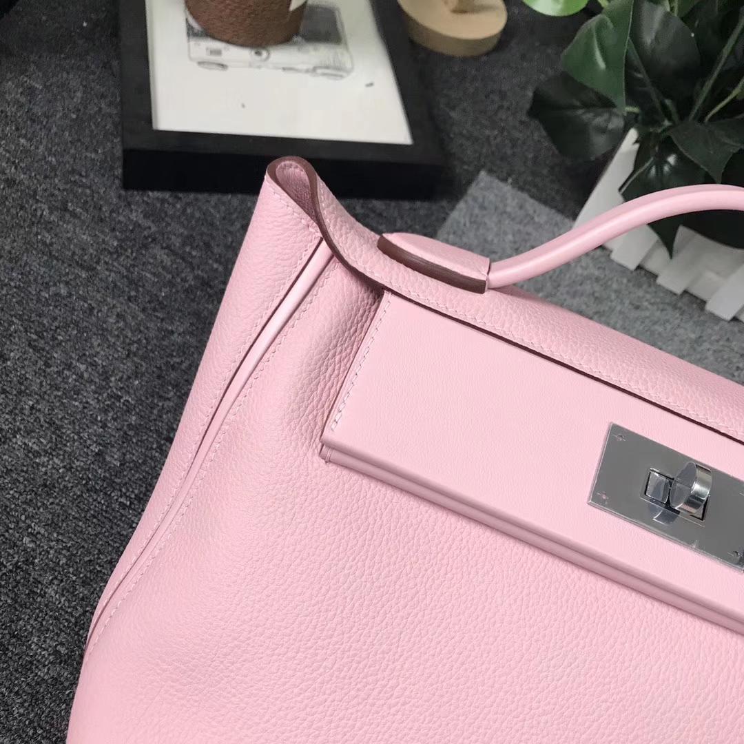 Hermès(爱马仕)3Q新樱花粉 原厂御用顶级小牛皮拼Swift 皮 2424 银扣