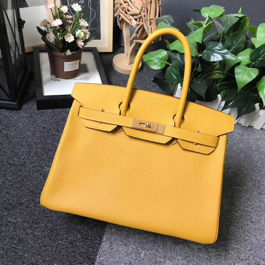 Hermès(爱马仕)9D琥珀黄 原厂御用顶级小牛皮 Birkin 30 金扣 现货
