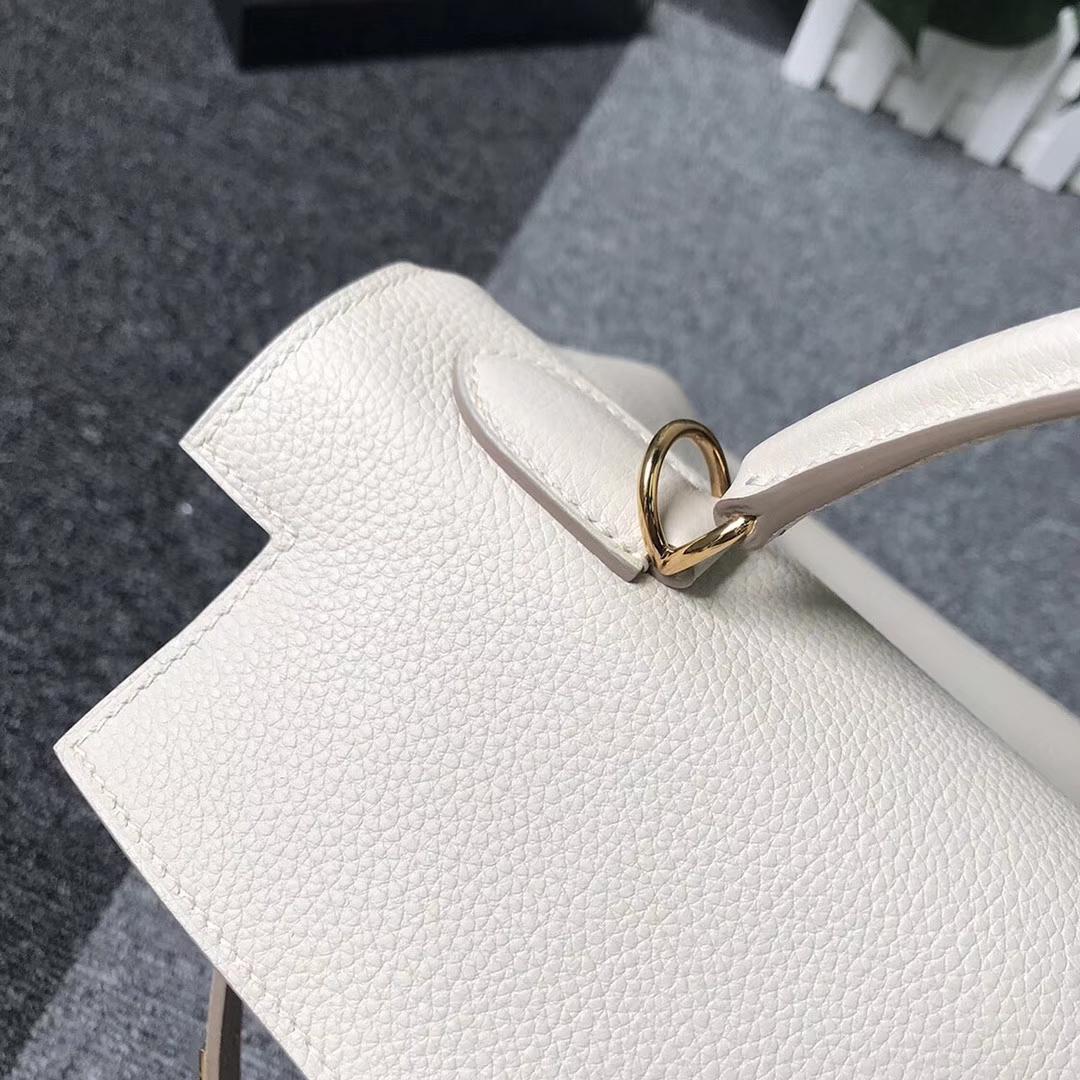Hermès(爱马仕)奶昔白 原厂御用顶级小牛皮 Kelly 32 金扣 现货