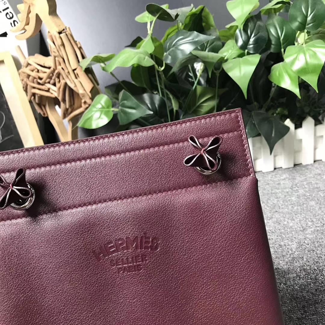 Hermès(爱马仕)Aline 艾琳包 酒红色 原厂御用顶级Swift 皮 21cm