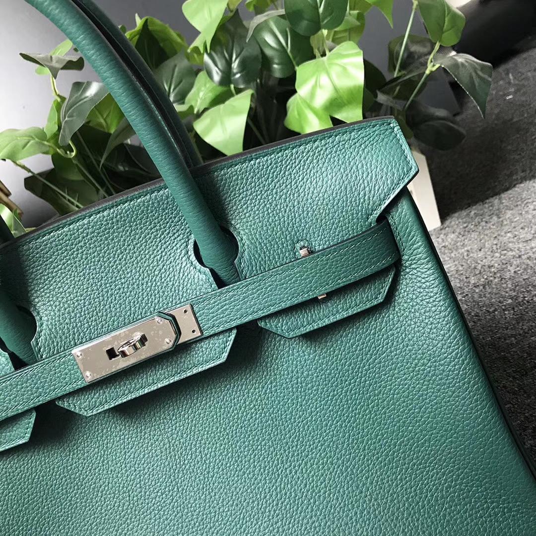 Hermès(爱马仕)Z6孔雀绿 原厂御用顶级小牛皮 Birkin 30 银扣