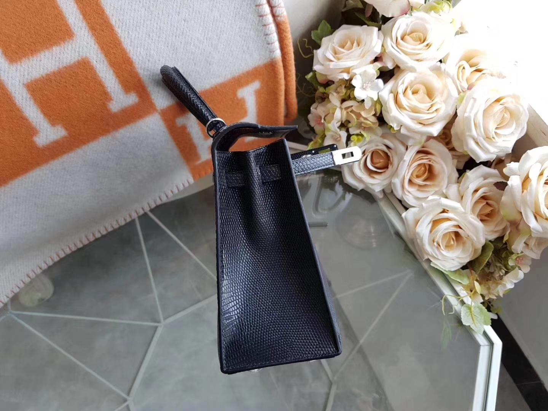 Hermès(爱马仕)Kelly 25cm 外缝 蜥蜴皮 NOIR ck89黑色 银扣 现货