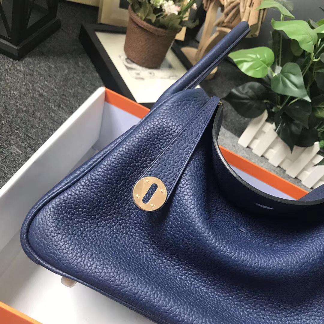 Hermès(爱马仕)M3 墨水蓝 原厂御用顶级TC 皮 Lindy 30 金扣