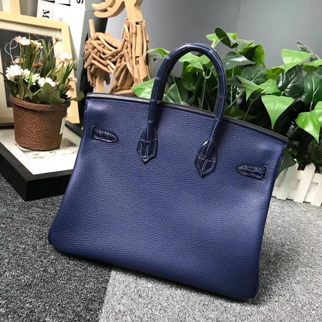 Hermès(爱马仕)鸭子蓝 原厂御用顶级小牛皮拼鳄鱼皮 Birkin 25 银扣
