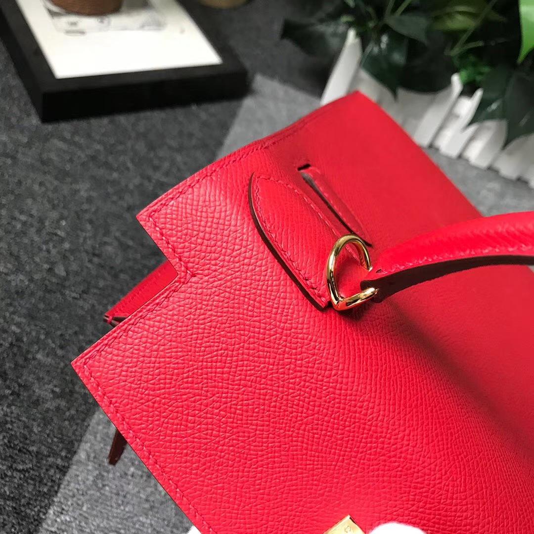 Hermès(爱马仕)Q5 中国红 糖果红 原厂御用顶级Epsom 皮 Kelly 28 外缝 金扣 现货