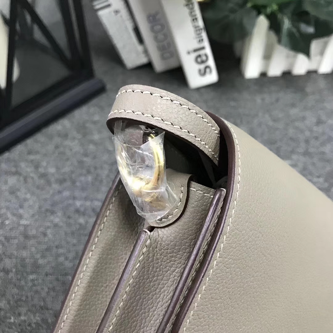 Hermès(爱马仕)Roulis猪鼻包 M8 沥青灰 原厂御用顶级Ever Color 皮  金扣 19cm 现货