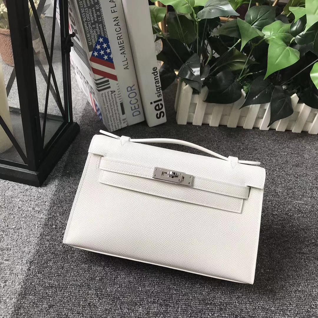 Hermès(爱马仕)纯白色 原厂御用顶级Epsom 皮 Mini Kelly 银扣 现货