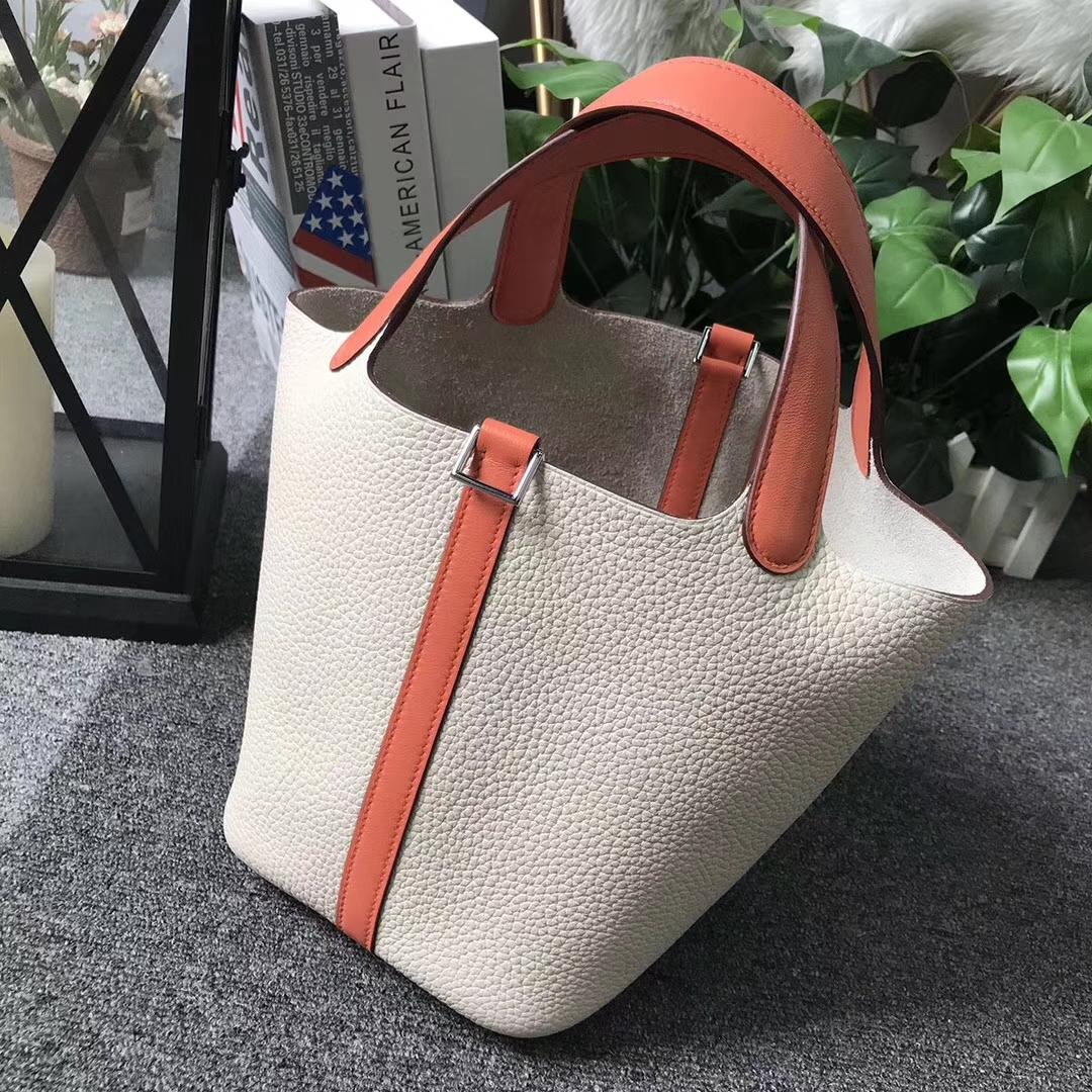 Hermès(爱马仕)Picotin Lock 奶昔白拼橙色 原厂御用顶级TC 皮 银扣 18cm