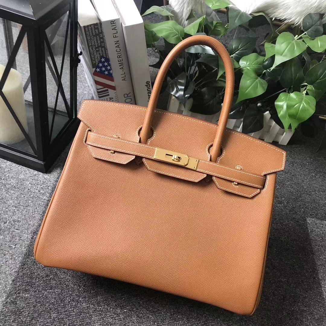 Hermès(爱马仕)Birkin铂金包 C37 金棕色 原厂御用顶级Epsom 皮 30cm 金扣 现货