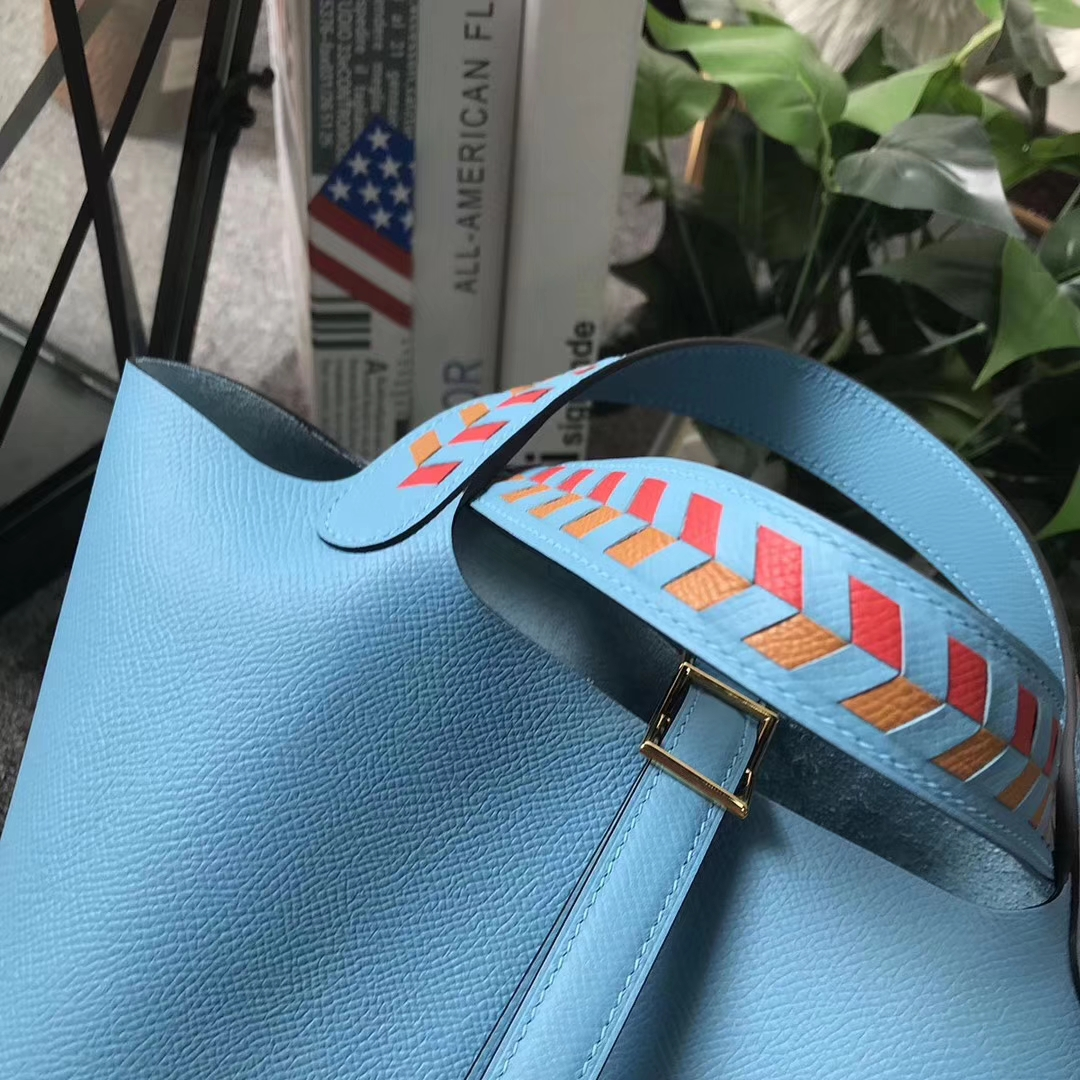 Hermès(爱马仕)Picotin菜篮包 Lock 北方蓝 编织手腕 原厂顶级Epsom皮 金扣 18cm 现货