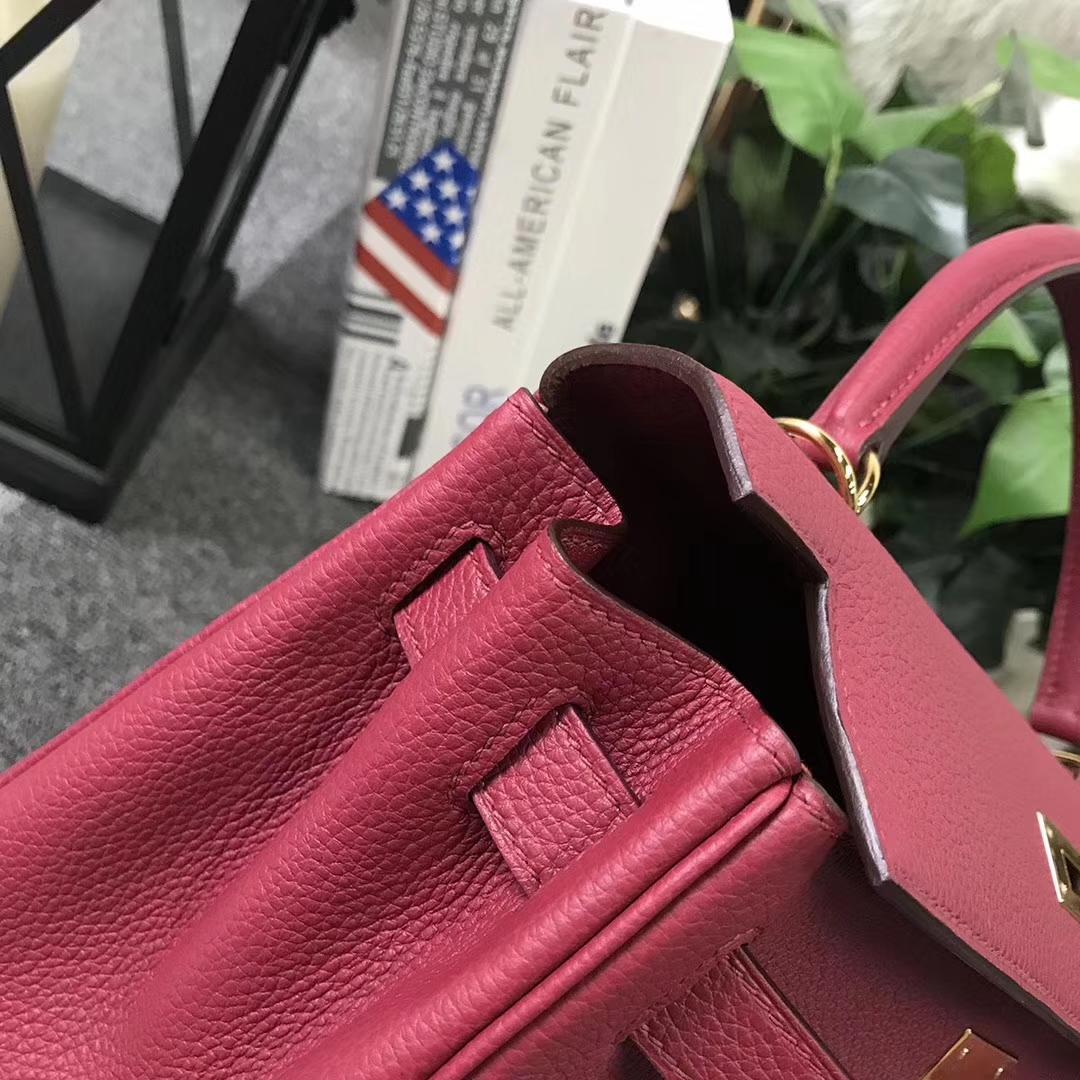 Hermès(爱马仕)Kelly凯莉包 K1 石榴红 原厂御用顶级小牛皮 28cm 金扣 现货