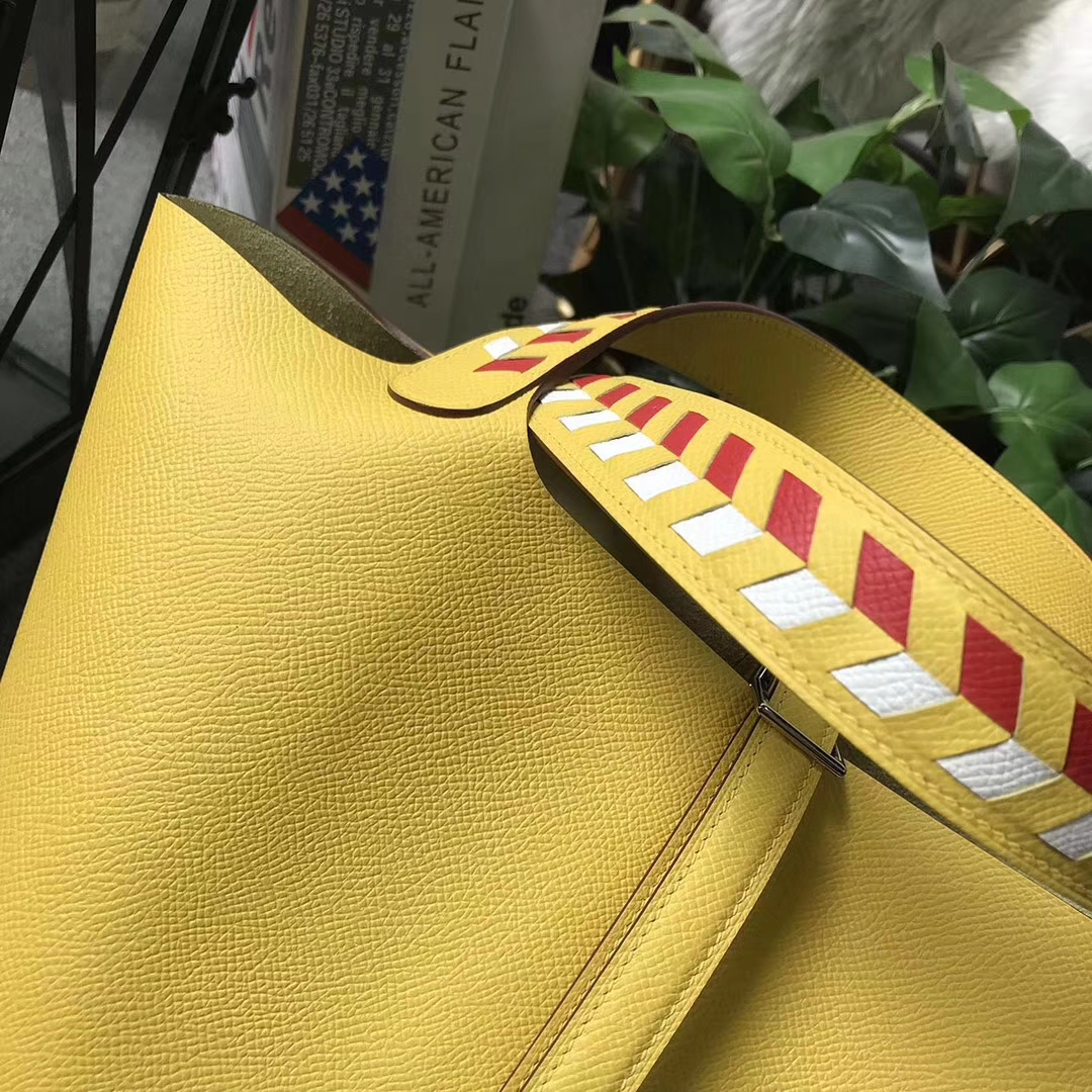 Hermès(爱马仕)Picotin菜篮包 Lock 新色 那不勒斯黄 编织手腕 原厂御用顶级Epsom皮 22cm 银扣 现货