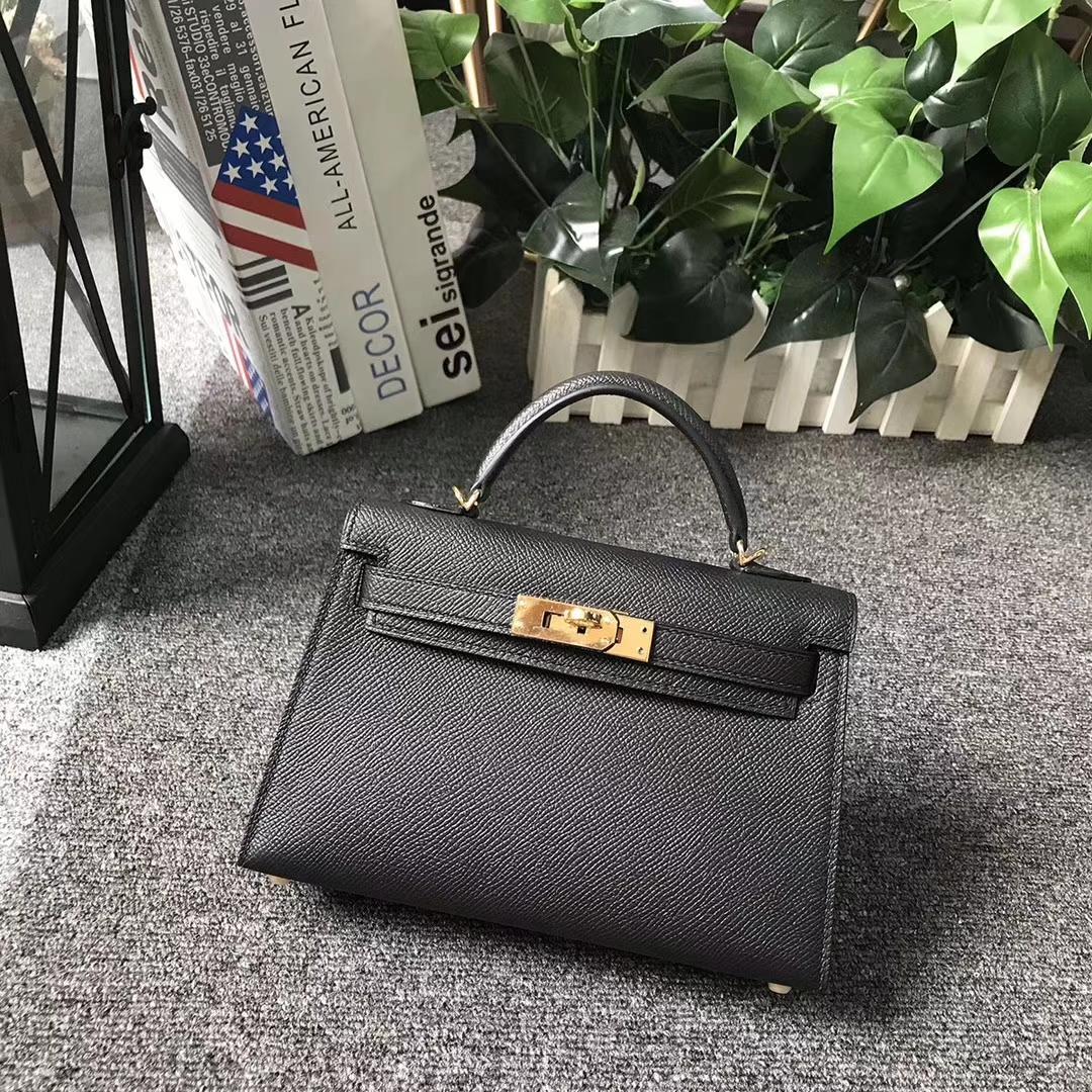 Hermès(爱马仕)CK89 黑色 原厂御用顶级Epsom 皮 Mini Kelly 二代 金扣 现货