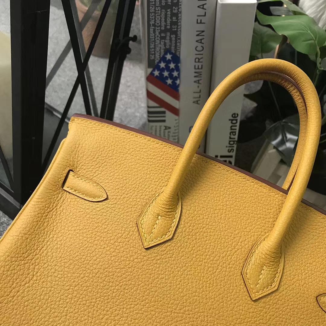 Hermès(爱马仕)Birkin铂金包 9D琥珀黄 原厂御用顶级小牛皮 25 银扣 现货