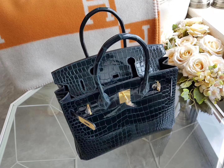 Hermès(爱马仕)birkin铂金包 1P 鸭子蓝 金扣 亮面两点鳄鱼 30cm